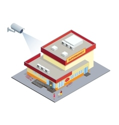 CCTV security camera on isometric of vector