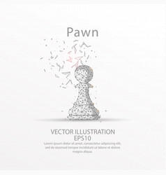 chess pawn low poly wire frame on white background vector image