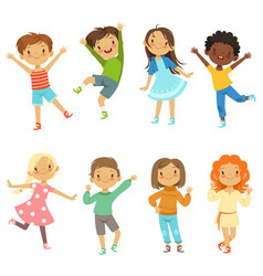 Children playing funny characters isolate vector