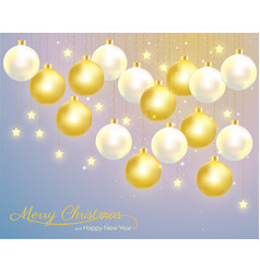 Christmas balls hanging on starry sky background vector