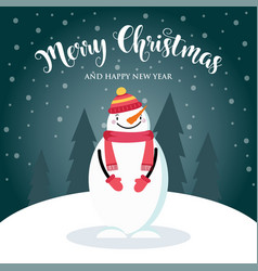 christmas card with cute snowman and wishes vector image