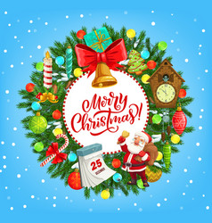 Christmas wreath with santa xmas gifts and bell vector