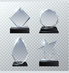 Clear glass trophy awards isolated on transparent vector