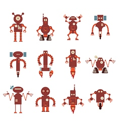 Collection of red robot icons vector image