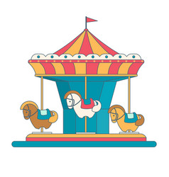 colorful carousel with horses in flat style vector image