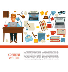 Content writer professional sitting by table with vector