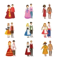 Couples Wearing National Costumes Set vector