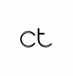 Ct logo monogram with slice rounded modern design vector