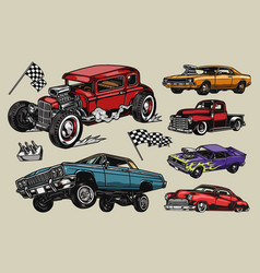 custom cars colorful vintage composition vector image