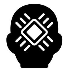 cyborg head flat icon vector image
