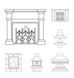 Different kinds of fireplaces outline icons in set vector