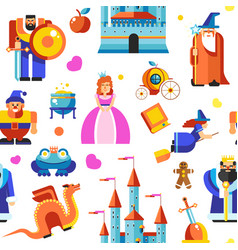 Disneyland princess and wizards castle seamless vector