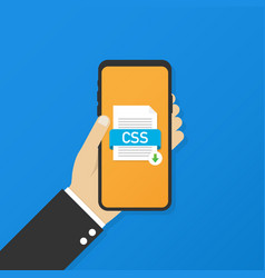 Download css button on smartphone screen vector