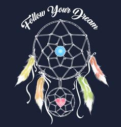dream catcher colorful emblem vector image