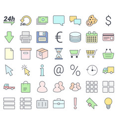 e-commerce simple thin icon set vector image
