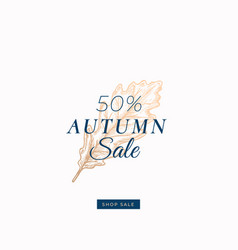 Fifty percent autumn sale abstract retro vector