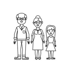 Figure grandparents with their granddaughter icon vector