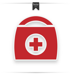 first aid kit medical help icon in red and vector image