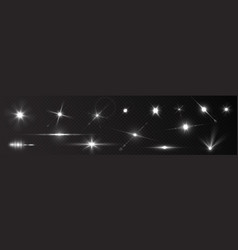 flash light on black background glow sparkle vector image