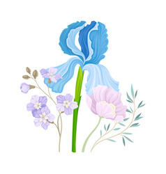 Floristic composition with purple showy iris vector
