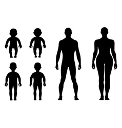 Full length front back human silhouette set vector