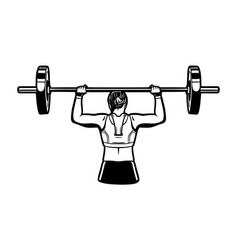 girl young woman holding barbell fitness gym vector image