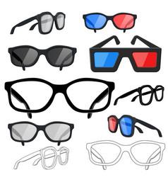 Glasses set sunglasses movie 3d glasses vector