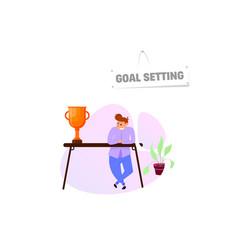 Goal setting concept character flat cartoon style vector