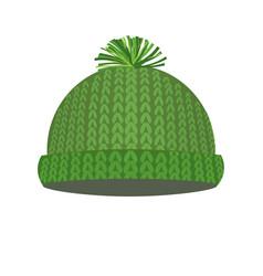 d0165dbf9a81 Green knitted winter cap vector ...