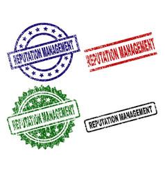 Grunge textured reputation management stamp seals vector