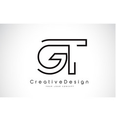 Gt g t letter logo design in black colors vector