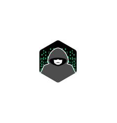 Hacker hidden face hexagon logo vector