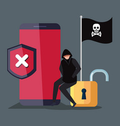 Hacker with smartphone device and icons vector