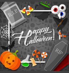 Halloween frame with orange background vector