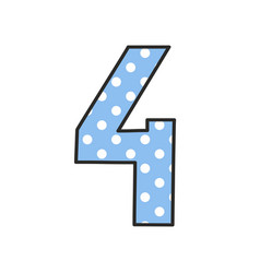 Hand drawn number 4 with polka dots on pastel blue vector