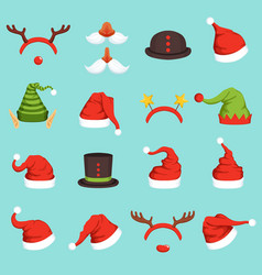 hats of different christmas characters cap vector image