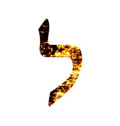 Hebrew letter lamed shabby gold font the hebrew vector