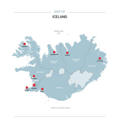 Iceland map with red pin vector