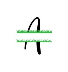 initial a grass monogram split letter isolated vector image