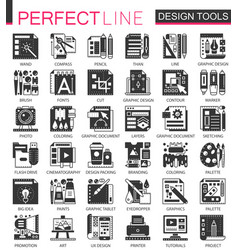 interface design tools black mini concept vector image