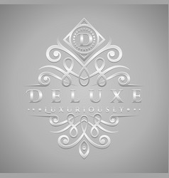 letter d logo - classic luxurious silver vector image
