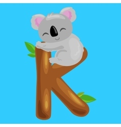letter K with koala animal for kids abc education vector image