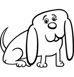 little dog cartoon for coloring vector image