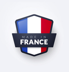 Made in france badge seal with french colors vector