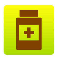 medical container sign brown icon at vector image