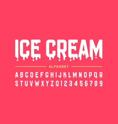 Melting ice cream font alphabet letters and vector