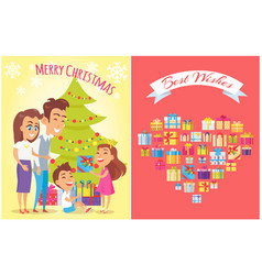 merry christmas and family vector image