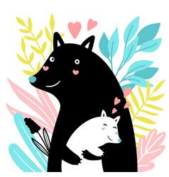 mom and baby animal vector image