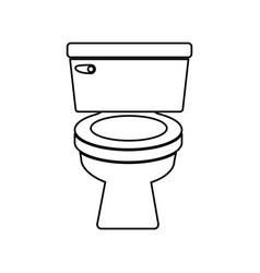 Monochrome contour of toilet front view vector