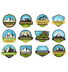 Mountain expedition emblems outdoors travel vector